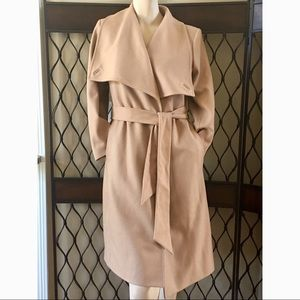 Ted Baker Long Cashmere Blend Wool Tan Coat NWOT